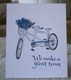 Marybeth's time for paper used Serendipity Stamps Tandem Bicycle rubber stamp for her card.