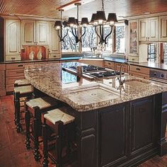 Kitchen. Brilliant Kitchen Decorating Interior Ideas Offer Large Kitchen  Island With Smokey White Granite Top With White Deep Sink And Custom Curve  Faucet ...