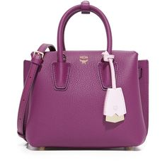MCM Milla Mini Satchel ($730) ❤ liked on Polyvore featuring bags, handbags, satchel handbags, mini crossbody purse, leather crossbody handbags, leather purses and purple leather handbag
