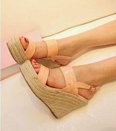 Pink Straw Wedge Heel Platform Simple Sandals Asian Fashion