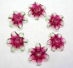 Handmade Lampwork Beads   Fairy Blossoms pink and от mermaidglass, $15.00