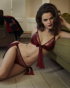 Sergeant red front tie boudoir bra and bow tie brief, Private Collection, Fleur of England [UK]