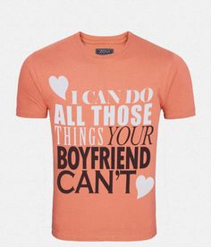 Zovi Ur Boyfriend Cant Coral Solid Graphic T-shirt - Zovi Mens Tees