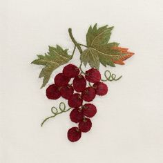 Grapes Burgundy<br>Hand Towel - Ivory Cotton<br>+ 50 In Stock Brazilian Embroidery Stitches, Rose Embroidery, Hand Embroidery Stitches, Learn Embroidery, Embroidery Techniques, Cross Stitch Embroidery, Embroidery Patterns, Machine Embroidery, Embroidery Supplies