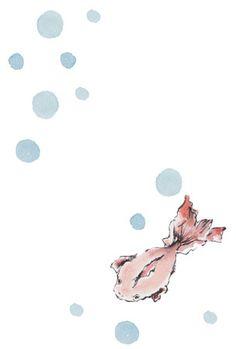 金魚と水玉模様を描いた残暑見舞い