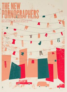 The New Pornographers concert poster at the Variety Playhouse, Atlanta on June 26, 2010 by Staci Janik (Methane Studios).