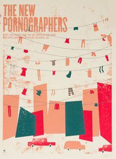 The New Pornographers concert poster | adore font + icons  Cuidado que hay ropa tendida!!!!