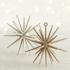 Silver Glitter 3D Star Ornament   Crate and Barrel