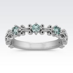 Wear this gorgeous blue green sapphire stackable ring alone or with multiples for a fashion-forward look. #ShaneCoChic