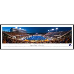 Boise State Football - End Zone View in Broncos Stadium - Blakeway Panoramas Ncaa College Print with Standard Frame