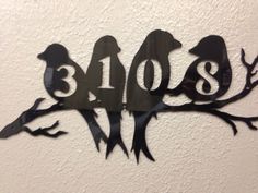 Custom House Address Number Metal Sign Bird Art by INSPIREMEtals
