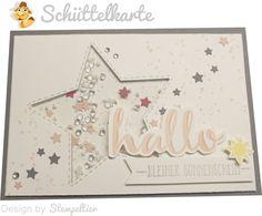 schüttelkarte shaker card stampin up baby hallo kleiner sonnenschein geburt stempeltier stern