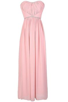 #Lily Boutique - #Lily Boutique Band of Rhinestones Gathered Chiffon Maxi Dress in Pale Pink - AdoreWe.com