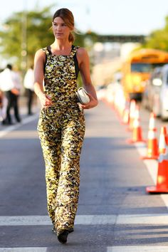 95 Killer Outfits To Copy from Fall 2015 New York Fashion Week - Hanelli wearing '70s inspired yellow ditsy floral overalls