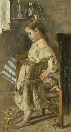 Antonio Mancini   Het arme kind, Antonio Mancini, 1880 - 1897   Het arme kind. Een jong meisje staat een stel geleund. Bij de poot van de stoel scharrelen twee muizen rond. Op de vloer ligt stro, tegen de wand hangt een plankje waarop enkele flessen en galzen staan.