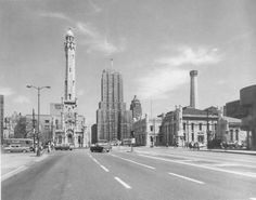 MICHIGAN AVE – LOOKING NORTH FROM NEAR WATER TOWER – 1950s