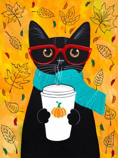 Autumn Pumpkin Coffee Cat - Original Folk Art Portrait Painting