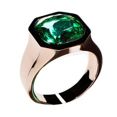N.V. Gallery Milano Colombian Cushion Cut Emerald Gold Ring | From a unique collection of vintage engagement rings at https://www.1stdibs.com/jewelry/rings/engagement-rings/