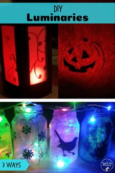 DIY Luminaries, three different ways to make luminaries with the kids! – Art & Craft Ideas for Children – Recycling Halloween Activities For Kids, Fun Halloween Crafts, Diy For Kids, Crafts For Kids, Arts And Crafts, Big Kids, Glitter Jars, Diy Bird Feeder, Educational Crafts