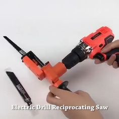 Electric Drill Reciprocating Saw Set - This Reciprocating Saw Kit Can Change The General Electric Drill Into Reciprocating Saw, Jig Saw, a - Homemade Tools, Diy Tools, Pvc Projects, Simple Projects, Metal Working Tools, Diy Home Repair, Metal Pipe, Reciprocating Saw, Tool Storage