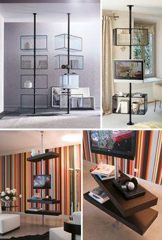suspended modern wood shelves