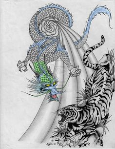 Asian Tiger and Dragon Tattoos Dragon Tiger Tattoo, Dragon Tattoo Back, Dragon Tattoos For Men, Tiger Dragon, Chinese Dragon Tattoos, Dragon Tattoo Designs, Back Tattoo, Tattoos For Guys, Men Tattoos