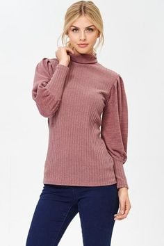 Turtleneck Ribbed Knit Top Cut with room through the chest, arms, and waist. Hits at the hip, Dropped shoulder, Straight hem. Hands wash Made in the United States Material: Rayon Ruffle Sleeve, Turtleneck, Pullover, Blouse, Sweaters, Swag, How To Make, Arms, United States