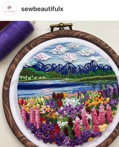 Hand Embroidery Flowers Hand Embroidery Designs Crewel Embroidery Cross Stitch Embroidery Embroidery Patterns Cross Stitching Sewing Art Sewing Crafts Diy Arts And Crafts Hand Embroidery Flowers, Crewel Embroidery Kits, Hand Embroidery Designs, Ribbon Embroidery, Cross Stitch Embroidery, Embroidery Patterns, Cross Stitching, Little Presents, Sewing Art