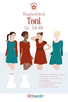 Das Toni-Jerseykleid bietet dir viele Möglichkeiten: Toni ist ein  figurbetontes Basiskleid mit Raglanärmeln , welches in unterschiedlichsten Varianten genäht werden kann: als schnellgenähtes sportliches Kleid, mit betonendem...