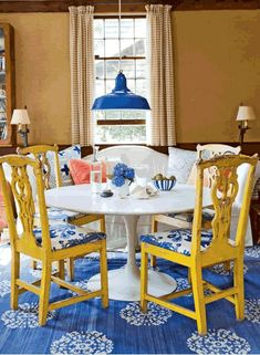 yellow chairs and blue and white.. Design Ideas | DigsDigs