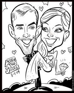 Cartoon Faces, Cartoon Drawings, Art Drawings, Caricature Artist, Caricature Drawing, Wedding Drawing, Wedding Art, Wedding Ideias, Wedding Caricature