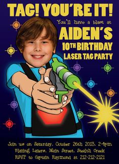 Laser Tag Birthday Party Invitation Personalized with your Lazer Tag Birthday Party, Laser Tag Birthday, Laser Tag Party, Birthday Party Invitations, Boy Birthday, Birthday Ideas, 12th Birthday, Birthday Stuff, Party Planning