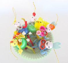 Vintage Style Easter Ornaments Set of 5 Spun Cotton by teresatudor, $20.00
