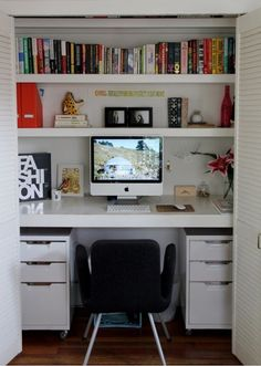 Great for small spaces! If you keep the closet doors, you can close it when not in use.