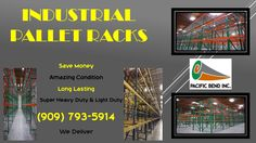 Heavy duty and light duty Pallet Racks. Free delivery for orders over $2,000 with a limit of 100 miles. Offer is good through the entire month of December. Please call our friendly sales team for a free quote. (909) 793-5914