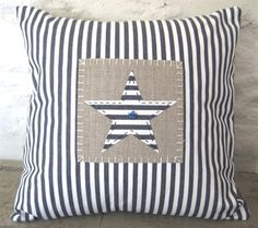 Blue Ticking Star Cushion Quilted Pillow, Patchwork Cushion, Applique Cushions, Sewing Pillows, Diy Pillows, Decorative Pillows, Throw Pillows, Cushions To Make, Scatter Cushions
