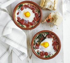 Baked egg, per serving:  114 kcalories, protein 9g, carbohydrate 3g, fat 7 g, saturated fat 2g, fibre 2g, sugar 2g, salt 0.43 g