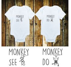 Twins onesie bodysuit, monkey see monkey do onesie makes a great baby shower gift or addition to your little ones closet by OBabyBrands on Etsy