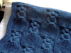 blue baby boy blanket cables and moss stitch knitted patterns @ Afshan Shahid