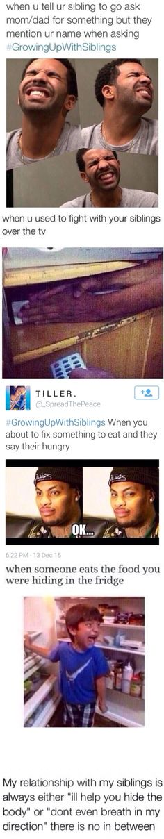Growing up with siblings Funny Growing up with siblings Funny memes Funny quotes Funny texts Hilarious Growing up with siblings Funny You ar… Dc Memes, Funny Memes, Memes Humor, Hilarious Quotes, Funny Cute, The Funny, Super Funny, Growing Up With Siblings, Lol
