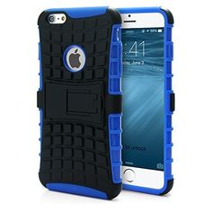 iPhone 6 Plus Hybrid Armor Heavy Duty Case Shockproof Impact Resistant Dual Hard Black Plastic Layer and Blue Flexible TPU Gel Skin Cover iPhone 6 Plus Kickstand Case with Screen Protector Film, Stylus and Charm #phonescases #iphone6pluscase