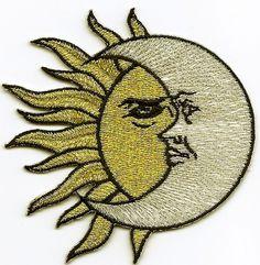 Sun Moon Gold Silver SM Iron on Embroidered Applique   eBay
