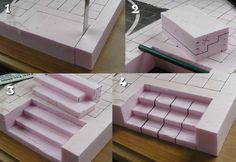 Foam display build - Stairs cutout http://mordheim.ashtonsanders.com/ #ChristmasVillage #EasyVillagestairs