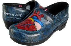 I totally want these for work!!!!  hand painted tooth fairy shoes, original maker of the Dansko clogs