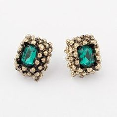 $2.11 Pair Of Vintage Chic Style Emerald Decorated Square Stud Earrings For Women
