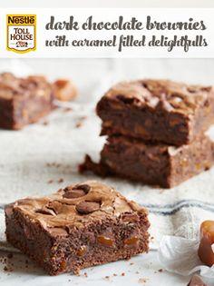 Dark Chocolate Brownies with Caramel Filled Delightfulls