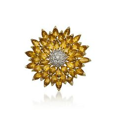 C.1960 Vintage 20.50 ct. t.w. Citrine and 1.00 ct. t.w. Diamond Pin in 18kt Yellow Gold
