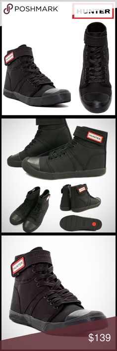 """HUNTER ORIGINAL BOOT SNEAKER BOOTIE HUNTER ORIGINAL BOOT SNEAKER BOOTIE   SIZING- True to size. Whole sizes only; for 1/2 sizes, order next size down  COLOR- BLACK   ABOUT THIS ITEM   * Round toe w/bumper   * Bootie / Hi-top silhouette   * Lace-up & hook-and-loop closure   * Removable padded insole   * Grip sole, approx .50"""" heel   * Logo detail   MATERIAL Canvas upper, rubber sole   ❌NO TRADES❌ ✅BUNDLE DISCOUNTS✅  OFFERS CONSIDERED (Via the offer button only)   SEARCH WORDS # Hunter Boots…"""