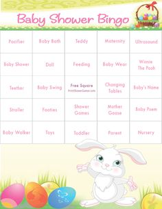 Bunny Theme Baby Shower Bingo for spring, Easter, or bunny theme baby showers