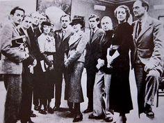 """First International Surrealist Exhibition""  London,  1936  L to R  Salvador Dali, Edward James, Paul Eluard, Eileen Agar, Herbert Read,  Stellan Mörner, Nucsch Eluard, Roland Penrose, ELT Mesens.,  Diana Brinton Lee, and Rupart Lee"